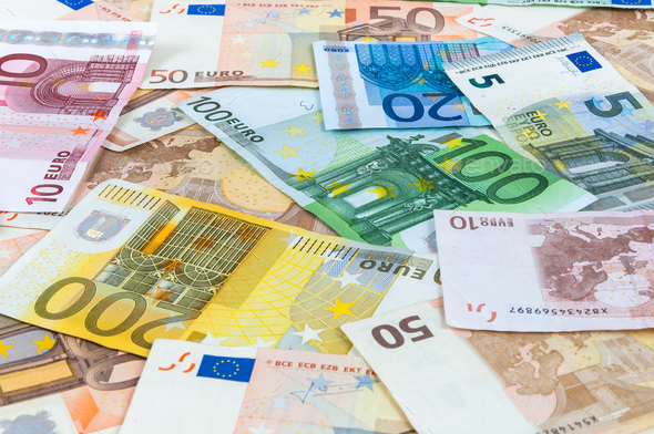 Background of euro banknotes - Stock Photo - Images