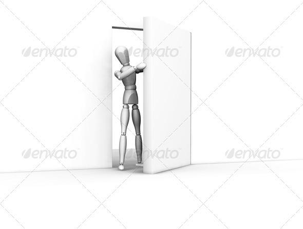 Open door - Characters 3D Renders
