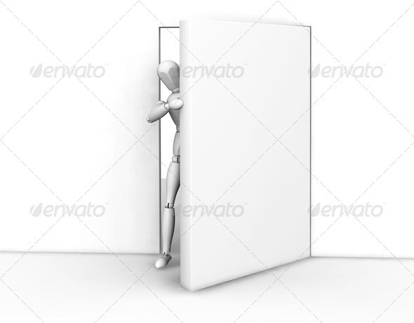 Person peeking round a door - Characters 3D Renders