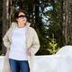 Placeit – White sweatshirt mockup of a woman in beige coat, model mockup - PhotoDune Item for Sale