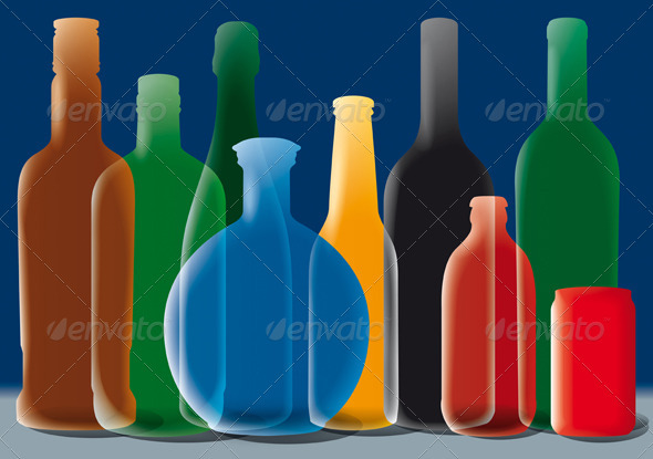 Group of Alcohol Bottles Background - Backgrounds Decorative