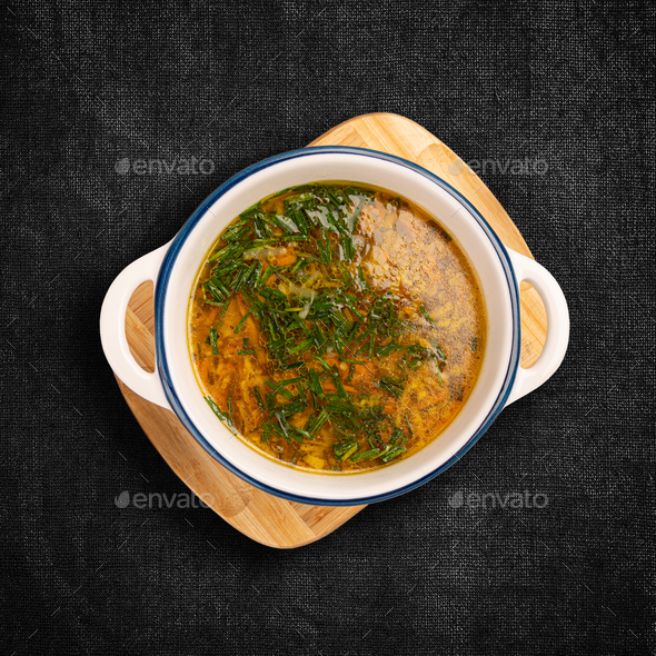 Flat lay of chicken soup - Stock Photo - Images