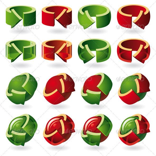 Set of Round Arrow Icons - Decorative Symbols Decorative
