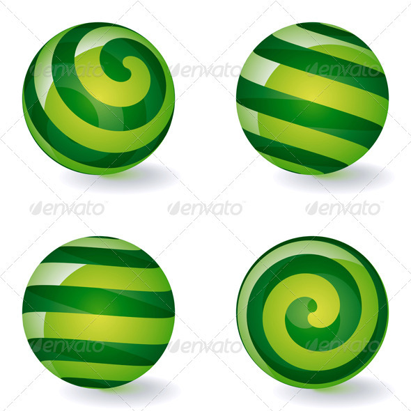 Set of Striped Spheric Icons - Decorative Symbols Decorative