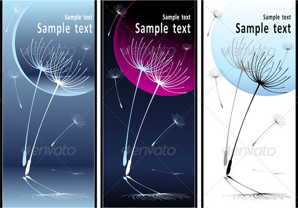 Set Abstract Composition Dancing Dandelion Seeds - Backgrounds Decorative