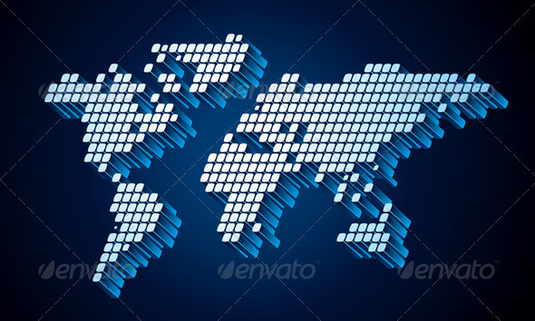 Dotted World Map - Backgrounds Decorative