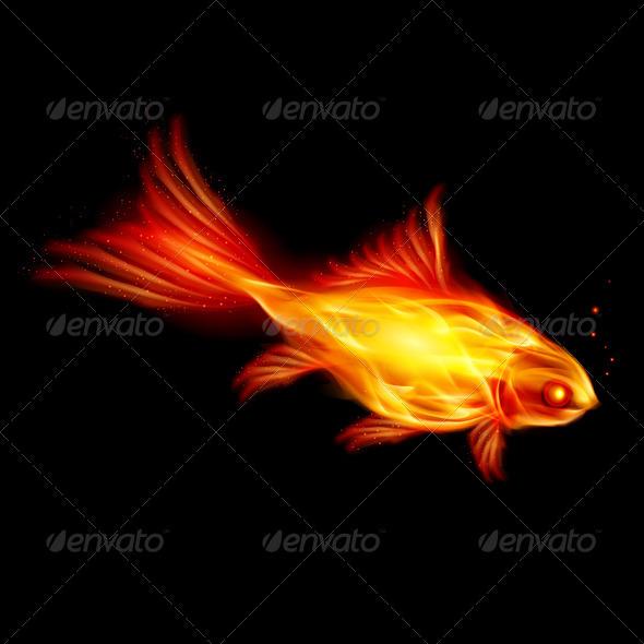 Burning fish - Objects Vectors