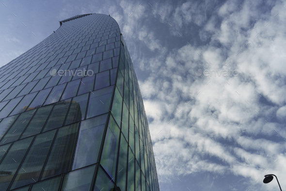 Milan, Italy: modern Citylife park: the Libeskind tower - Stock Photo - Images