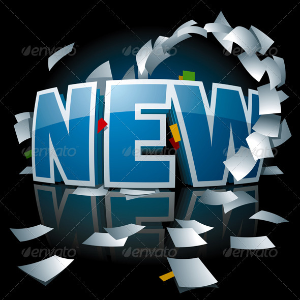 """New"" Logo with Paper Whirlwind Around it - Concepts Business"