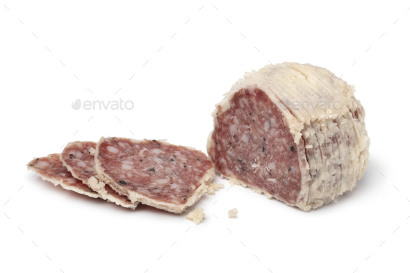 Saltufo sausage ball and slices close up isolated on white background - Stock Photo - Images