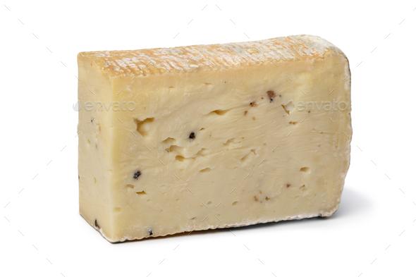 Italian Taleggio Tartufo cheese close up isolated on white background - Stock Photo - Images