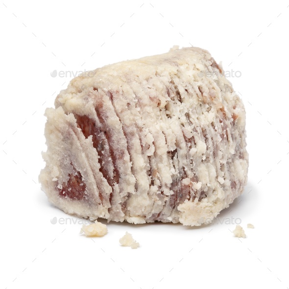 Saltufo sausage ball close up isolated on white background - Stock Photo - Images