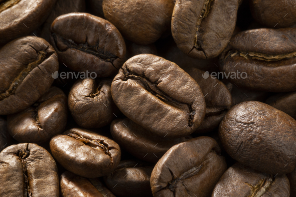 Brown roasted coffee beans close up full frame - Stock Photo - Images