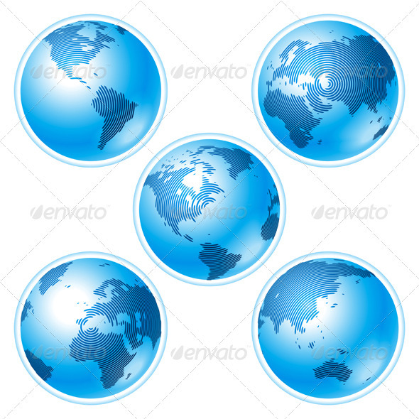 Set of Five Globes on White Background - Miscellaneous Vectors