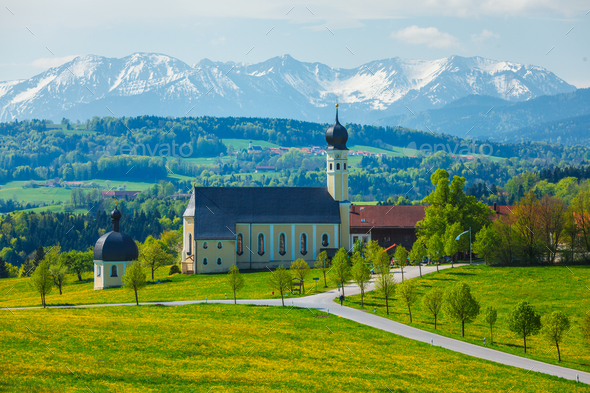 Church of Wilparting, Irschenberg, Upper Bavaria, Germany - Stock Photo - Images