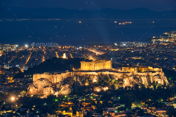 Iconic Parthenon Temple at the Acropolis of Athens, Greece - Stock Photo - Images