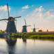 Windmills at Kinderdijk in Holland. Netherlands - PhotoDune Item for Sale