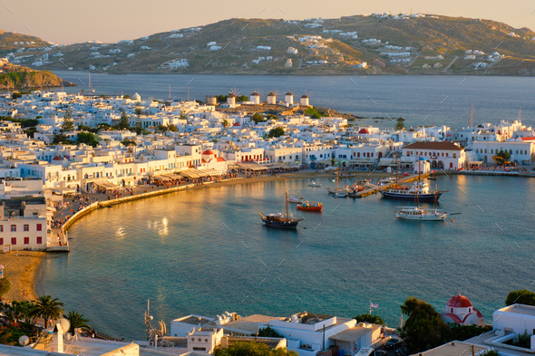 Mykonos island port with boats, Cyclades islands, Greece - Stock Photo - Images