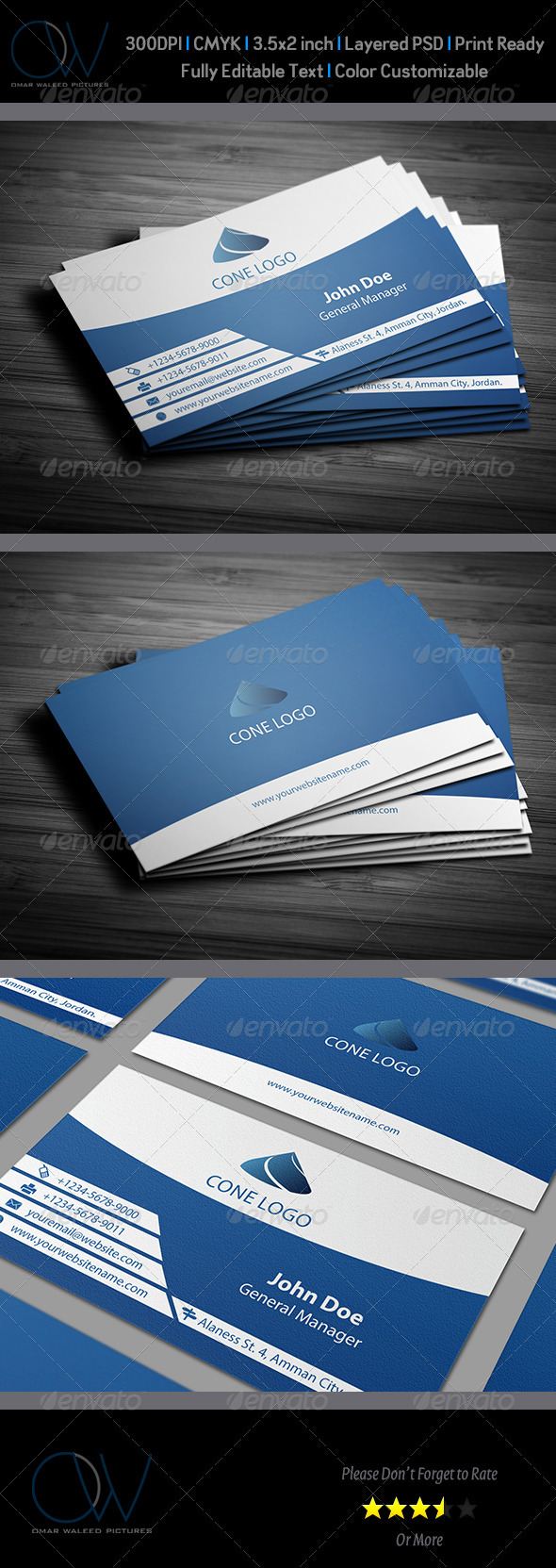 Horizontal Blue Business Card - Corporate Business Cards