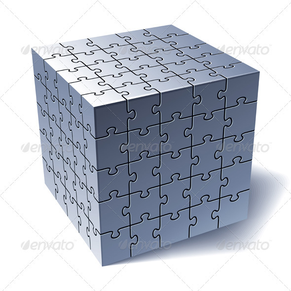 Jigsaw Puzzle Cube. All Parts Together - Decorative Symbols Decorative