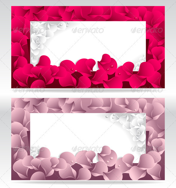 Post Card or Frames or Banners with Petals  - Decorative Vectors