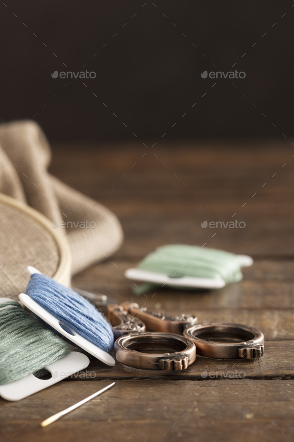 Embroidery Floss Keys with Scissors and Copy Space - Stock Photo - Images