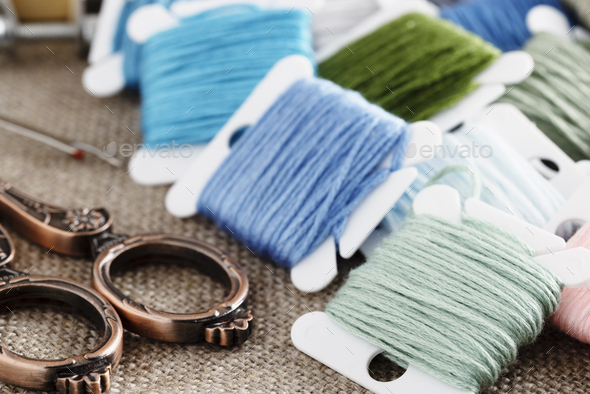 Close Up of Embroidery Floss - Stock Photo - Images