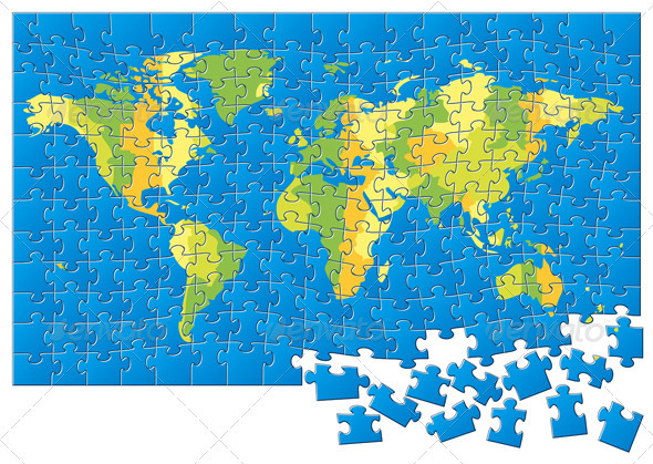 World Map Puzzle  - Miscellaneous Vectors