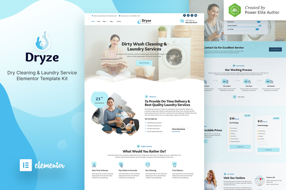 Dryze – Dry Cleaning & Laundry Service Elementor Template Kit