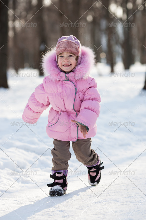 Happy child in winter - Stock Photo - Images