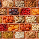Seamless flat lay food background of dehydrated fruits, seeds and nuts on white - PhotoDune Item for Sale
