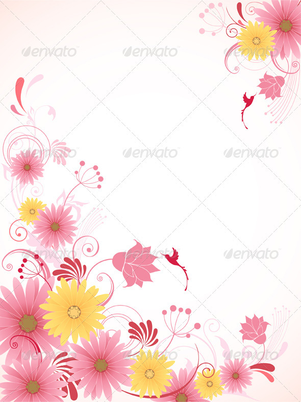 Floral Background with Pink Flowers - Backgrounds Decorative