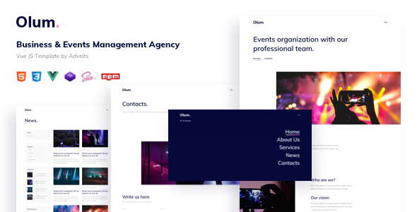 Olum - Business & Events Management Agency Vue JS Template