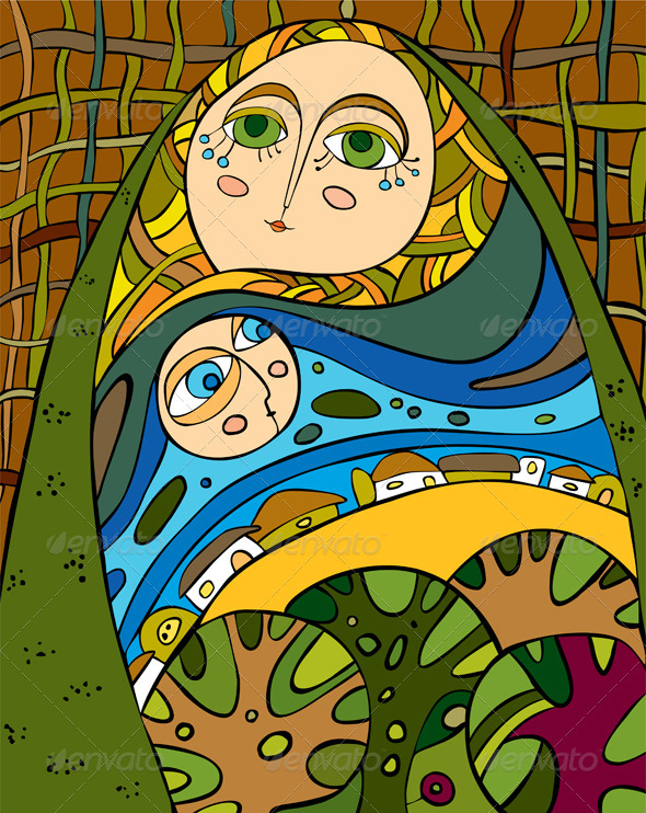Nature Girl Abstract Allegory  - Characters Vectors