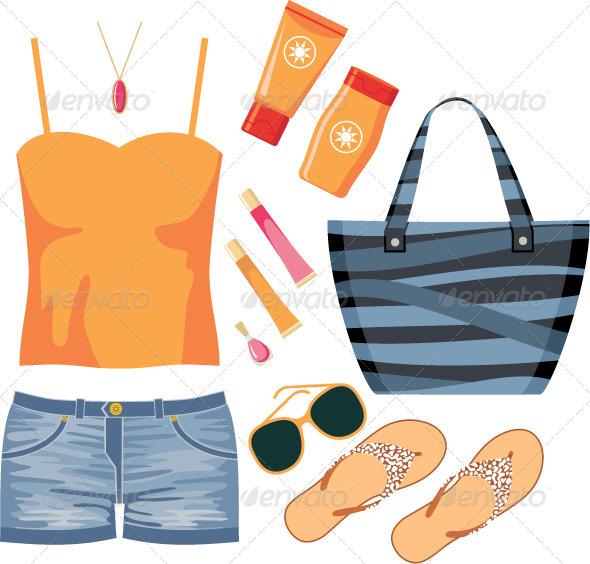 Fashionset of summer clothes - Conceptual Vectors