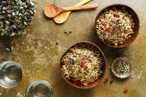 Two bowls of healthy quinoa pumpkin seeds - Stock Photo - Images