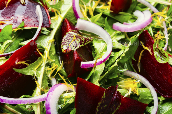 Spring greens and beetroot salad - Stock Photo - Images