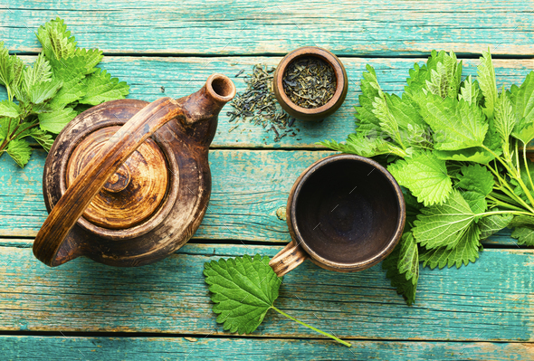 Herbal tea with nettle,herbalism - Stock Photo - Images