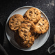 Tasty biscuits with chocolate. Sweet chocolate cookies on plate. - PhotoDune Item for Sale