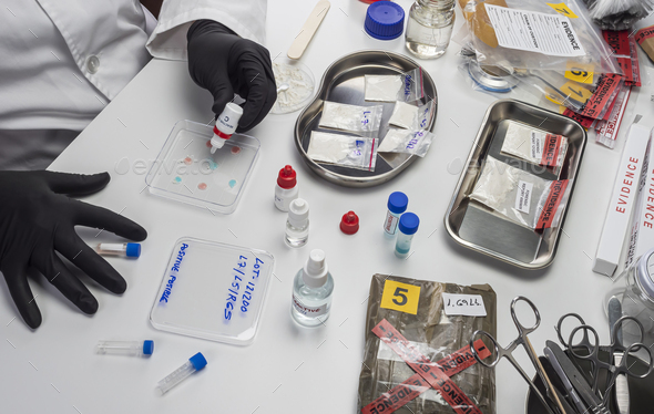 Scientific police hold positive drug reagent at crime lab, conceptual image - Stock Photo - Images