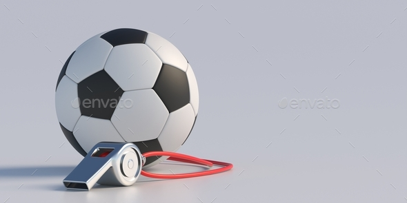 Soccer football. Soccer ball and referee whistle isolated on white background. 3d illustration - Stock Photo - Images