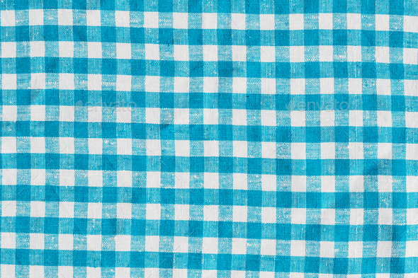 Old Retro Natural Classic Design Linen Plaid Fabric Tablecloth. Abstract Background, Blue And White - Stock Photo - Images