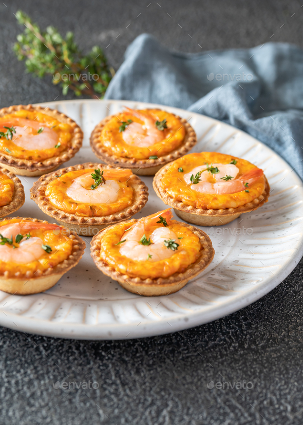 Shrimp tartlets with cheese - Stock Photo - Images