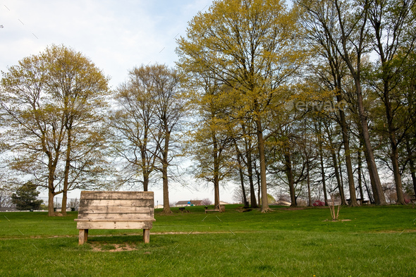 Wooden bench with gorgeous view at public park - Stock Photo - Images