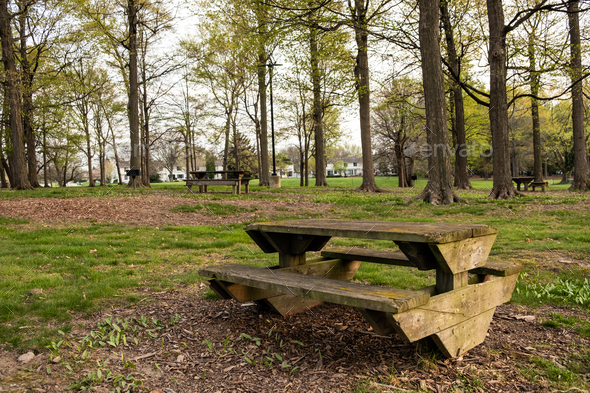 Picnic table with gorgeous view at public park - Stock Photo - Images