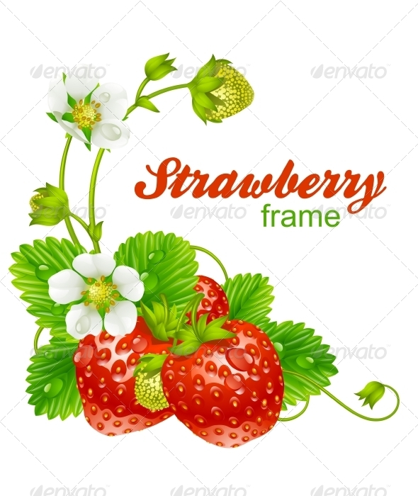 Vector strawberry frame. - Borders Decorative
