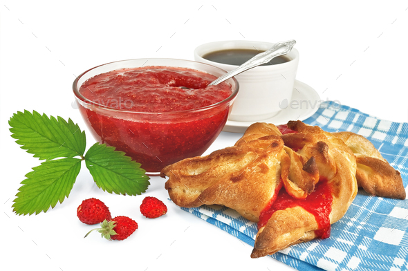 Jam strawberry with a bun - Stock Photo - Images