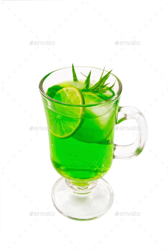 Lemonade Tarragon in goblet - Stock Photo - Images