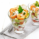 Salad with shrimp and avocado in two glasses on light board - PhotoDune Item for Sale