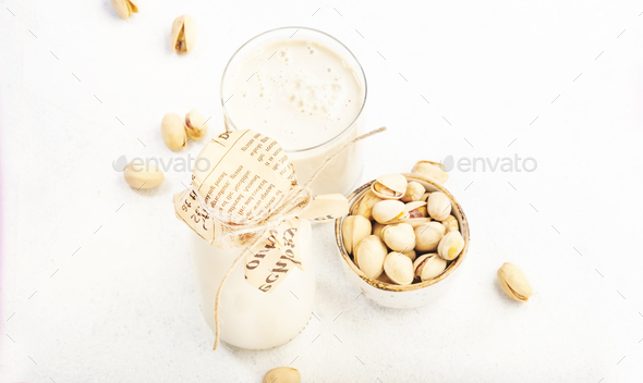 Pistachio nut milk - Stock Photo - Images